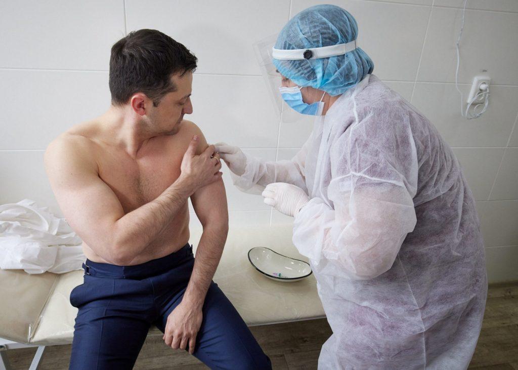 Ukrainian President Volodymyr Zelenskyy receives a Covid vaccine jab on March 2, 2021. (Ukrainian Presidential Press Service via REUTERS)